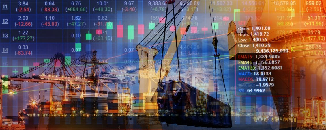 Double exposure of stocks market chart concept with International Container Cargo ship in the ocean
